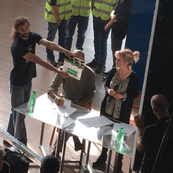 Luciana Littizzetto sul set di Massimo ribasso di Riccardo Jacopino